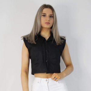 Padded Shoulder Crop Shirt