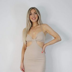 Cut Out Ribbed Maxi Dress